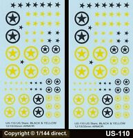 1/76 to 1/144 12mm 15mm 20mm FOW Decals US-110 US Stars + Circles Black & Yellow