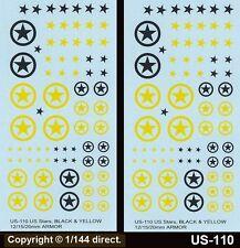 1/76 a 1/144 12mm 15mm 20mm Paso calcomanías us-110 nos estrellas + círculos Negro Y Amarillo