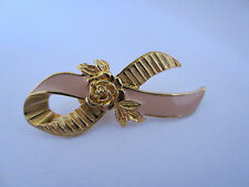 Breast Cancer Awareness Pin Brooch Pink Enamel Gold Rose Ribbon 1994