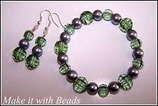 Earrings & Bracelet Jewellery Kit Green Silver Beads