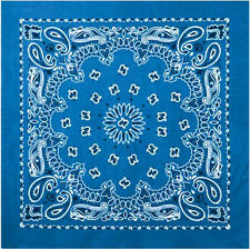 "Royal Blue Trainmen Cotton Paisley Biker Sport Bandana 22"" x 22"""