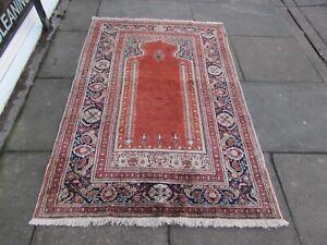 Vintage Traditional Hand Made Turkish Oriental Red Silk Rug 173x128cm