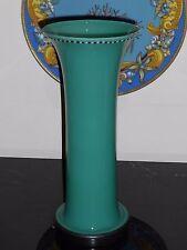 FABULOUS GREEN OPALINE ART GLASS VASE WITH BLACK GLASS BASE