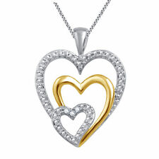Triple Heart Pendant Necklace Natural Diamond Accents Two Tone Gold Plated Brass
