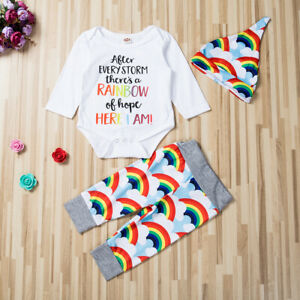 Newborn Baby Rainbow Romper Tops Girl Boy Jumpsuit Pants Outfits Clothes Set