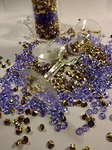 200 Pc Purple And Gold Diamond Confitte Size 8 mm