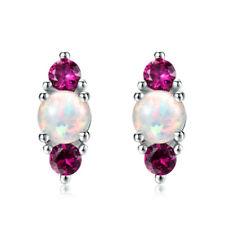 Fashion Pink Crystal White Artificial Imitation Opal Pendant Stud Earring