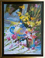 Stilleben expressiv Wiesenblumen Öl-Malerei Leinwand 40 x 30 cm Jean Dumas *1953