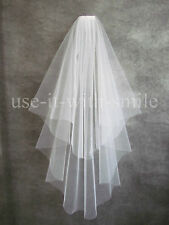 IVORY / WHITE 2 TIER FINGERTIP LENGTH WEDDING VEIL WITH CUT EDGE NEW UK