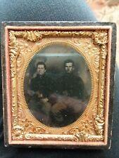 Daguerrotype Photograph Vintage  Gunslinger Soldiers Two Men Guns in Belt