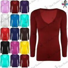 T-shirt, maglie e camicie da donna a manica lunga viscosi con scollo a v