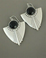Women 925 Silver Ear Hook Stud Turquoise Moonstone Dangle Drop Earrings Jewelry