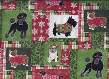 Christmas Valance Dressed up Dogs Red Green White Snowflake curtain valance