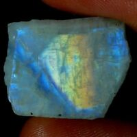 100% Natural Blue Fire Rainbow Moonstone Rough Slab For Making Gemstone JGEMS