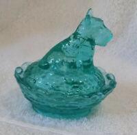 Boyd glass holiday magic scottie dog on nest salt