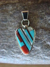 Zuni Indian Sterling Silver Turquoise Inlay Heart Pendant! Wayne Haloo