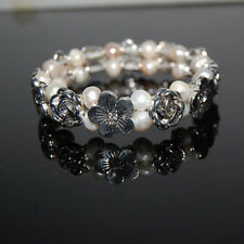 GORGEOUS GENUINE WHITE FRESHWATER PEARL AND TIBETAN SILVER AND CRYSTAL BRACELET