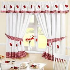 Amapolas Vichy rojo bordado guardamalleta a juego con cortinas de cocina