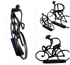 Cyclist Racing Bicycle Racer Statue Climbing Man Biker Figurine Cast Metal Art