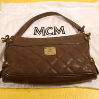 MCM Quilted Brown Leather Baguette 869321