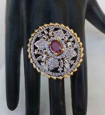 Indian Ethnic Bollywood Gold Plated UK Fashion Jewelry American AD Ruby Ring ad1
