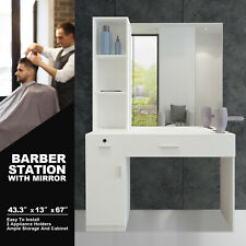 White Barber Salon Station Wall Mount Makeup Beauty Spa Styling Equipment Mirror