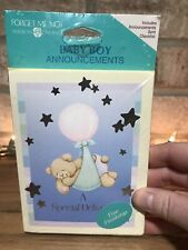 Teddy Bear Forget Me Not American Greetings Vintage Baby Boy Announcements