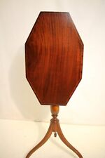 Antique English Hepplewhite Solid Mahogany Inlaid Tilt Top Side End Table,19th C