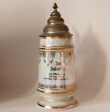 Antique Porcelain Beer Stein Gilt Inscription Lustre/Pearl Finish w/Litho c.1900