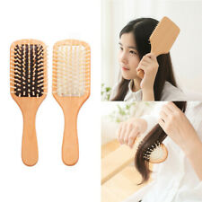 1X Massage Comb Soft Nature Wood Paddle Brush Wooden Hair Care Anti Static Comb