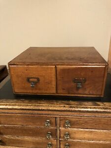Antique Tiger Oak Two Drawer File Card Catalog Tabletop Cabinet