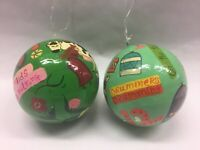 Twelve Days Of Christmas 2PC SET Ball Ornaments HANDPAINTED? 8 Maids 12 Drummers