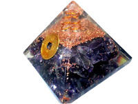 Jet Amethyst Feng Shui Coin Orgone Pyramid Lucky Ions Generator 2.5 inch Natural