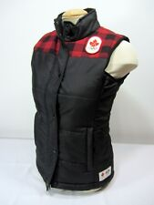 Hudson Bay Co. Canada Olympic Black & Red Plaid Quilted  Women's XS Vest