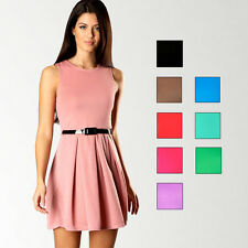 Ladies Womens Skater Dress Sleeveless Flared Belted Party Top Plus Size UK 8-26
