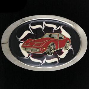 Chevy Chevrolet Corvette Sports Muscle Classic Car Racing 1980s Vtg Belt Buckle