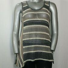 Colour Works Top XL Women's Gray Cream Mixed Knit Stripe Scoop Tank Blouse