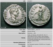 206 AD Geta, Nice Portrait, Silver Denarius LCGS 30 RIC 51 Sear 7197