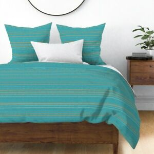 Stripe Orange Sateen Duvet Cover by Roostery