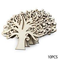 10pcs Blank Wooden Tree Shape DIY Crafts Home Xmas Party Decoration Wedding W4Z0