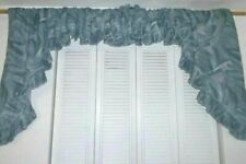 """Vintage Swag Curtains 164"""" wide x 38"""" Marbled Gray Ruffled Cotton Blend"""