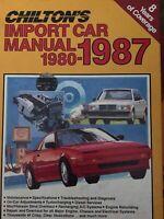 Chilton's Import Car Repair Manual 1980- 1987 Hardcover Audi Bmw Honda Saab