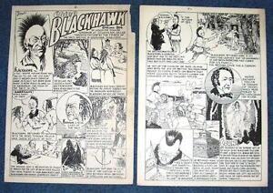 Original 1920/30 Newspaper Illustrated Comic Strip Art by Erwin Chief Blackhawk