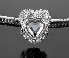 Crystal Heart Charm Silver Rhinestone Beads For European Charm Bracelets