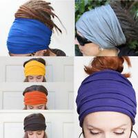 Solid Women Soft Turban Wide Elastic Headband Sport Stretch Head Wrap Hair Band
