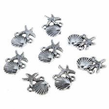 10PCS Tibetan Silver Beads Shell Starfish Sea Theme Charm Pendant 18*14mm DIY