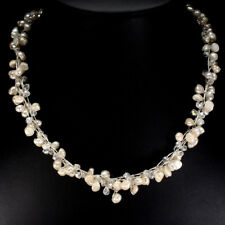 Gorgeous Baroque Creamy White Pearl, Crystal Braided Rope Tennis Necklace 20""