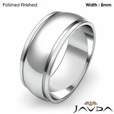 Wedding Band Women Plain Solid Dome Step Ring 8mm 18k White Gold 7.7gm Sz 7-7.75