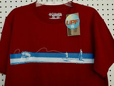 "Columbia Sportswear Graphic Omni-Shade Tee Shirt ""Fish On"" Red New Sz Medium"