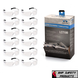 1 DOZEN CLEAR ZTEK SAFETY GLASSES W/ 100 LENS CLEANING TOWELETTES COMBO LISTING
